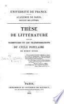 Thèse de littérature sur les vicissitudes et les transformations du cycle populaire de Robin Hood
