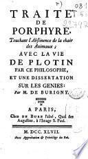 Traité de Porphyre, touchant l'abstinence de la chair des animaux