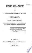 Une séance de l'école d'enseignement mutuel de Lyon